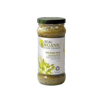 Thai Green Curry Sauce van Real Organic, 6x 350 gr