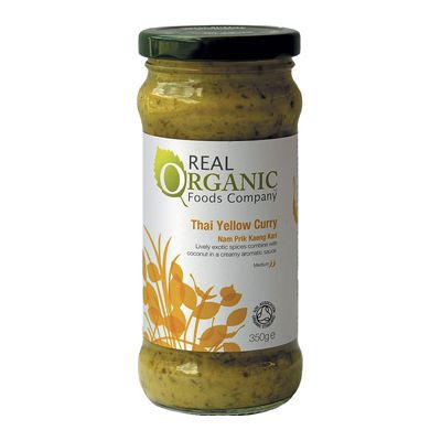 Thai Yellow Curry Sauce van Real Organic, 6x 350 gr