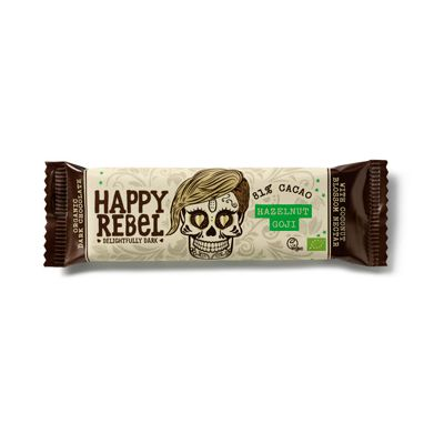 Chocolade-bar hazelnut/goji van Happy Rebel, 24 x 38 g