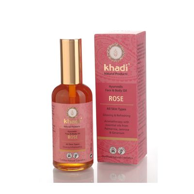 Face & body oil rose van Khadi, 1x 100 ml