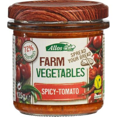 Farm veg spicy tomaat van Allos, 6 x 135 g