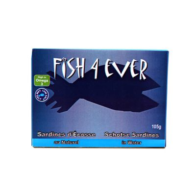 Sardines in Bronwater van Fish 4 Ever, 12x 105 gr