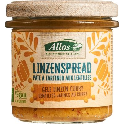 Gele linzenspread curry van Allos, 6 x 140 g