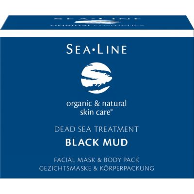 Black mud facial mask & body pack van Sea Line, 1x 225ml