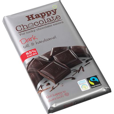 Dark 85% Chocoladereep van Happy Chocolate, 15x 180 g
