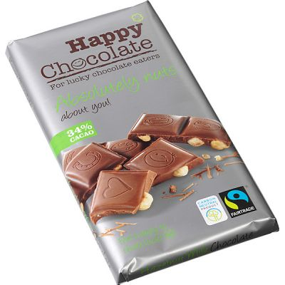 Absolutely nuts 34% melk-hazeln choc.reep van Happy Chocolate, 1