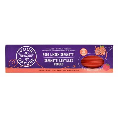 Rode linzen spaghetti van Your Organic Nature, 12 x 250 g