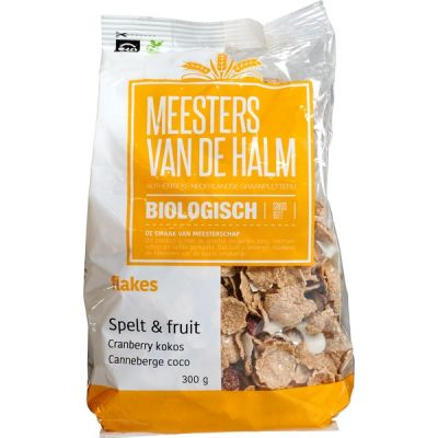 Flakes & Fruits Cranberry Kokos van de Halm, 6x 300 gram.