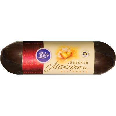 Marsepein in pure chocolade van Lubs, 18x 50gr