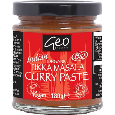 Tikka masala curry paste van Geo Organics, 6x 180gr