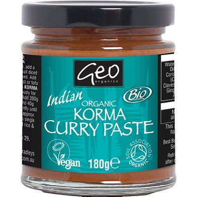 Indian korma curry paste van Geo Organics, 6x 180gr
