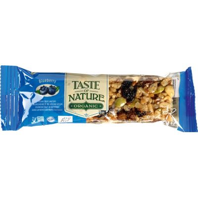 Blueberry reep van Taste of Nature, Raw Food, 16x 40gr