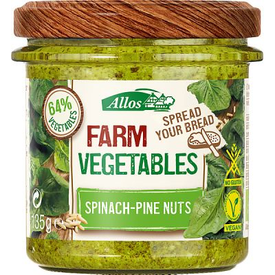 Farm vegetables spinazie pijnboompitten van Allos, 6x 135gr