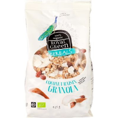 Coconut raisin granola van Royal Green, 6x 425g