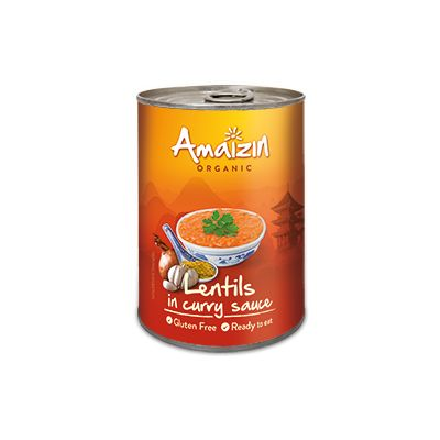 Linzen in curry saus van Amaizin, 6x 420 g