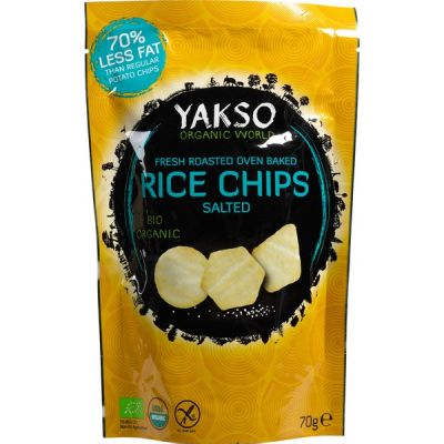Rice chips salted van Yakso, 12 x 70 g