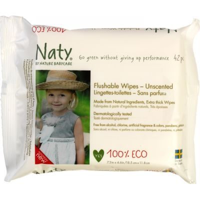 Sensitive flushable wipes van Naty, 12 x 42 stk
