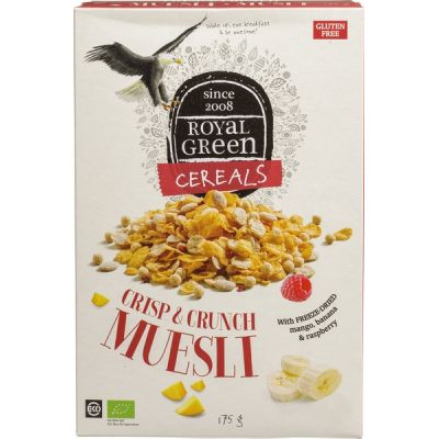 Crisp & crunch muesli van Royal Green, 6 x 175 g