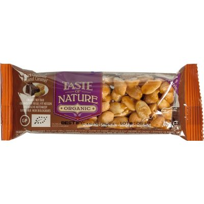 Dark Chocolate Peanut-Caramel van Taste of Nature, 16 x 40 g