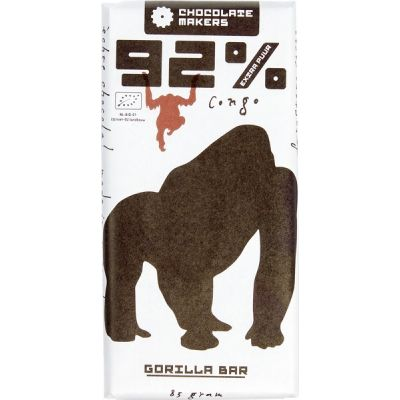 Gorilla bar 92% extra puur van Chocolatemakers, 10 x 85 g