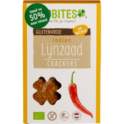 Lijnzaadcrackers Indian van Biobites, 8 x 90 g