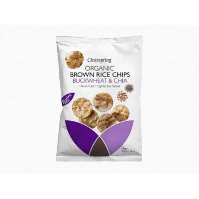 Brown Rice Chips - Buckwheat & Chia van Clearspring, 8 x 60 g