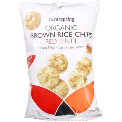 Brown Rice Chips - Red Lentil van Clearspring, 8 x 180 g