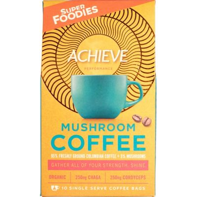 Mushroom coffee Achieve van Superfoodies, 6 x 100 g