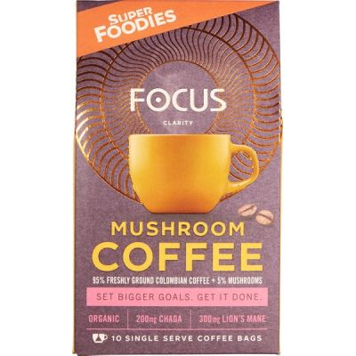 Mushroom coffee Focus van Superfoodies, 6 x 100 g